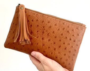 Marlow Emboss Leather Pouch:  Tan Ostrich