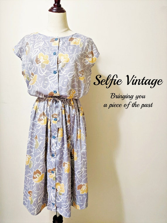 Authentic Japanese Vintage Grey Summer Florals Dre