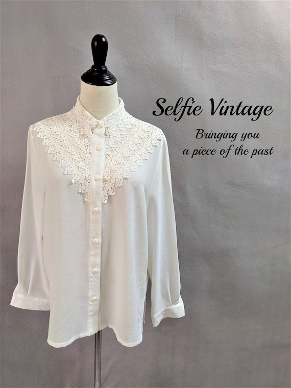 Authentic Vintage Lace Panel Offwhite Blouse 70s 8