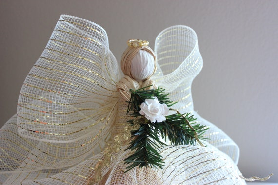Angel Tree Topper Raffia Angel Christmas Tree Topper Cream