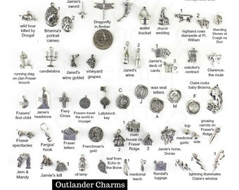 Outlander Gabaldon Charms,Outlander Sassenach pendants, Scottish Thistle Jewelry, Dragonfly in Amber, Outlander jewelry, Claire's ring