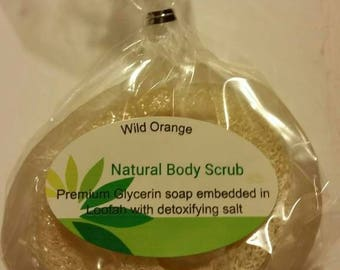 Natural glycerin body scrub embedded in loofah and detoxifying sea salt