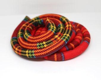 SALE 20% off - Red Tartan vegan spiralock 50cm only handmade in Gunu