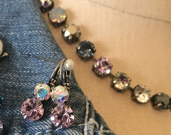 "New 16""-19"" adjustable Swarovski Crystal  Necklace set,Preppy, 8mm crystals in shades of lavender, blue, AB, clear crystals"