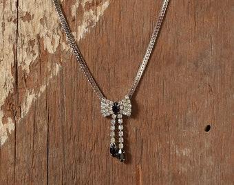 Rhinestone Bow Necklace - Black & White Rhinestones
