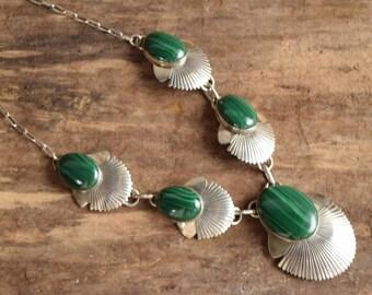 Malachite Necklace - Navajo Silver