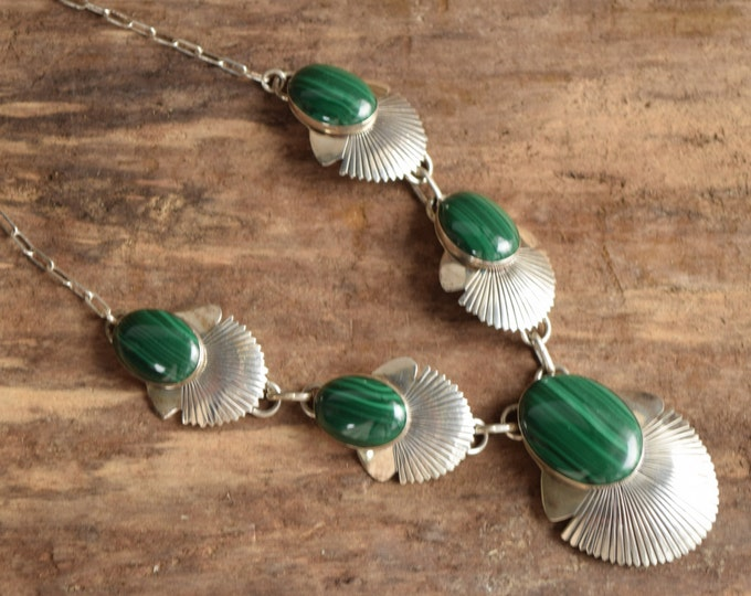 Malachite Necklace Navajo Silver