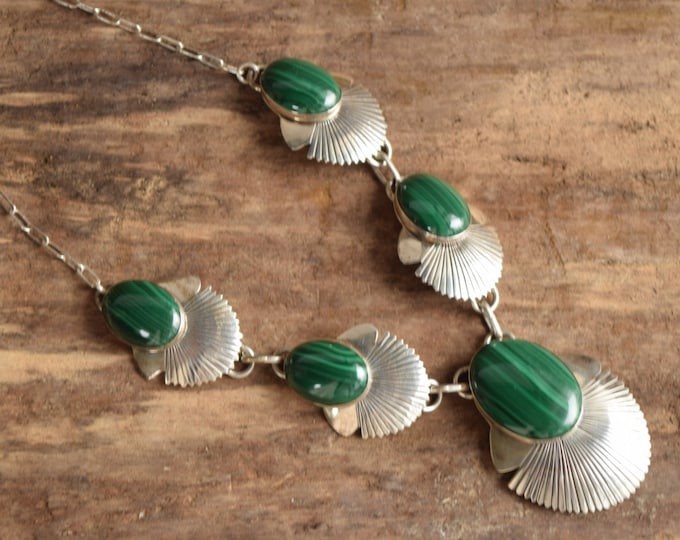 Malachite Necklace - Navajo Silver
