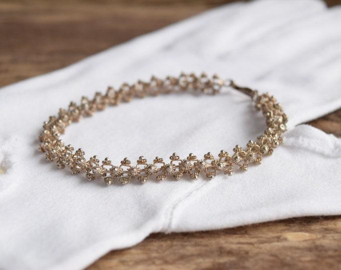 Sterling Silver Cannetille Bracelet - Vintage filigree bracelet - Silver bracelet - Unique bracelet - Simple Silver bracelet - Link bracelet