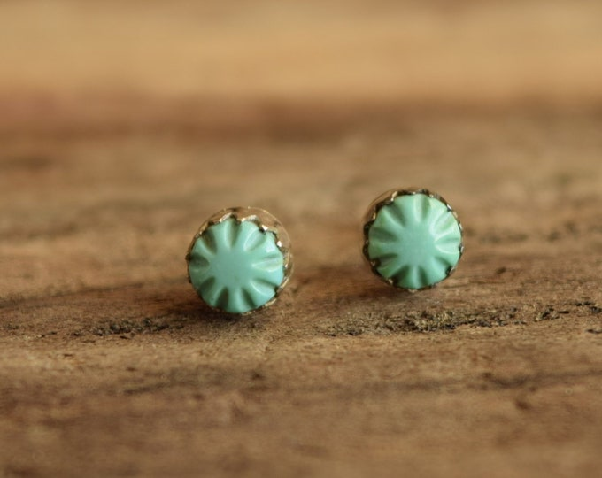 Carved Turquoise Studs - Simple Native American Earrings