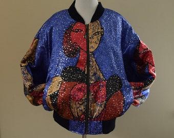 Abstract Art Satin Bomber Jacket - Large