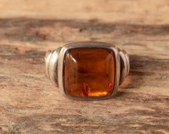 Square Amber Ring - Vintage Sterling Ring Baltic Amber