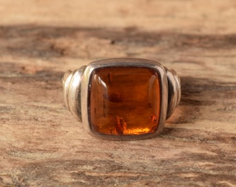 Square Baltic Amber Ring Size 7 1/4