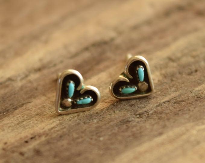 Heart Shaped Turquoise Studs - Zuni Petit Point Earrings
