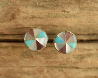 Inlay Pinwheel Native American Stud Earrings