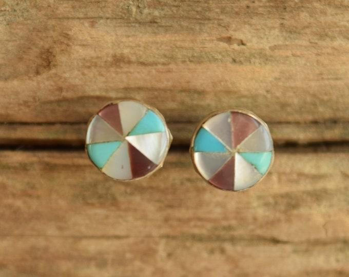 Inlay Pinwheel Native American Stud Earrings
