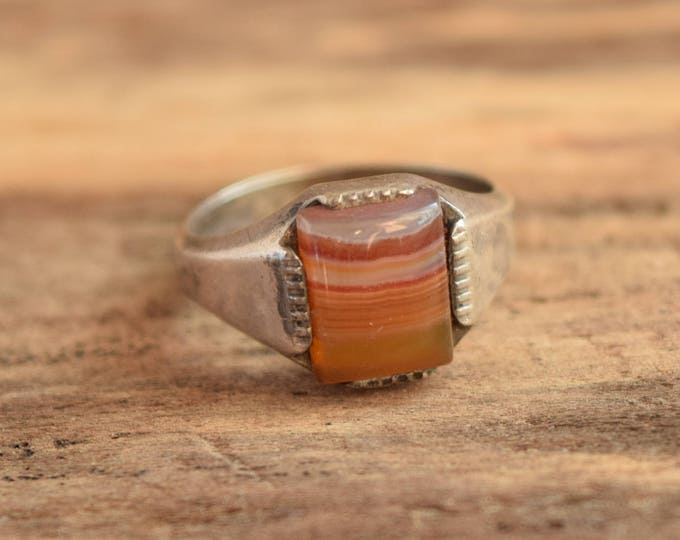 Square Agate Ring - Size 7.25 - Vintage agate ring - Natural Stone Rings - rectangle agate ring