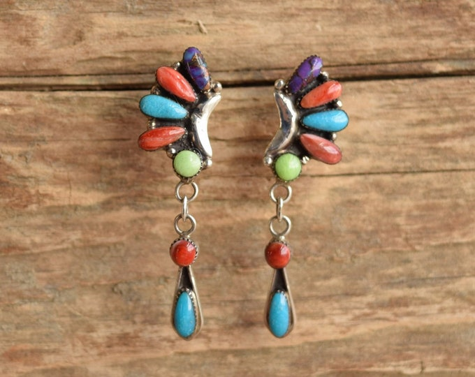 Rainbow Dangle Southwestern Earrings - Signed Native American CC