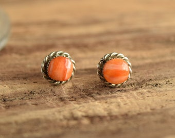 Orange Spiny Oyster Stud Earrings