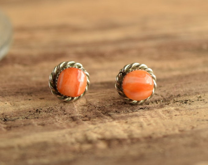 Orange Spiny Oyster Stud Earrings