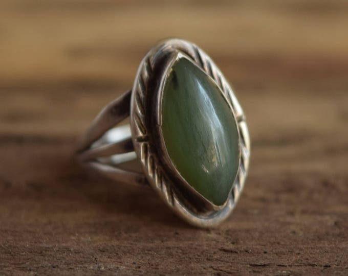 Green stone ring - Size 7 Marquise shaped ring - green gemstone ring - sterling silver bohemian ring - nature jewelry - greenstone