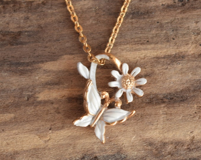Butterfly Flower Necklace White and Gold Toned