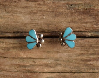 Small Turquoise Inlay Earrings