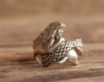 Mermaid Dolphin Sterling Silver Ring Size 7