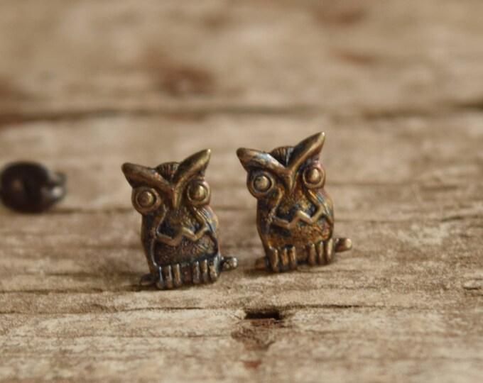 Owl Earrings - sterling silver bird jewelry - vintage owls - owl studs - vintage owl stud earrings