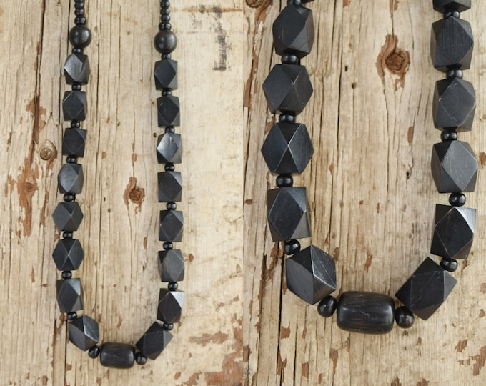 Geometric Wooden Necklace - black geo necklace  - 27 inch necklaces - geometric beaded chunky necklace - bohemian statement jewelry - wood