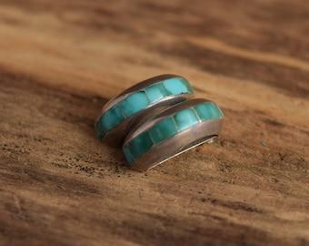 Turquoise Hoop Clip Earrings