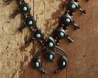 Turquoise Squash Blossom Necklace - Native American