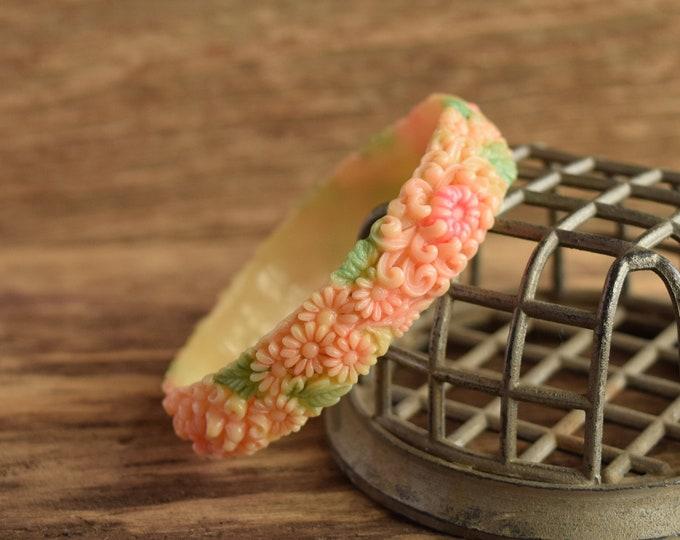 Spring Celluloid Flower Bangle Bracelet