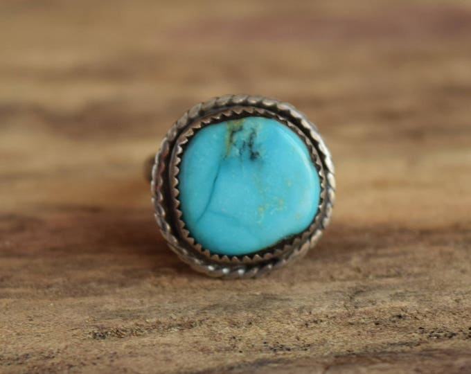 Round Turquoise Ring - Size 6.25 - Vintage Turquoise Stone Jewelry