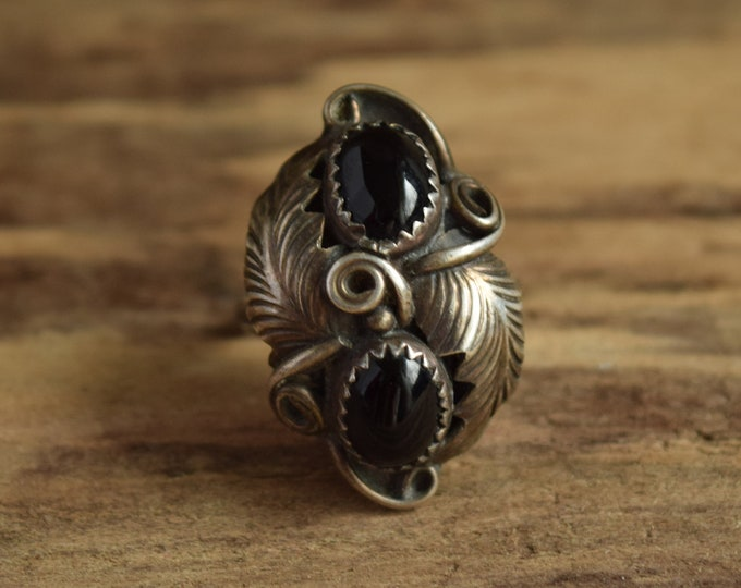 Dual Black Onyx Ring Size 6 3/4 Native American