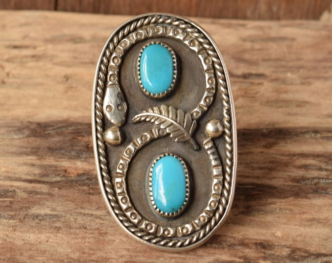 Large Snake Ring - size 11 1/4 - Statement Turquoise Ring - Big Turquoise Ring, Dual stone, Two stone turquoise rings, vintage snake jewelry