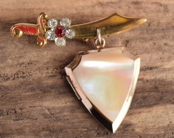 Shriners Sword and Shield Locket Brooch