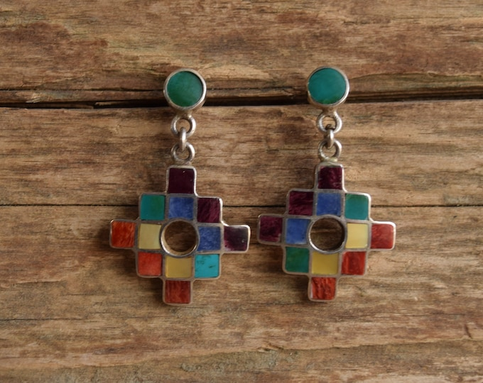 Featured listing image: Southwestern Rainbow Inlay Dangle Earrings