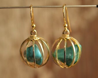 Caged Turquoise Gold Toned Dangle Earrings - Gemstone Cage Drop Earrings - Gold plated ear wires