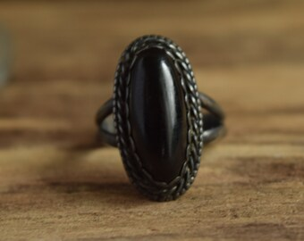 Dark Onyx Oval Ring Size 7 3/4