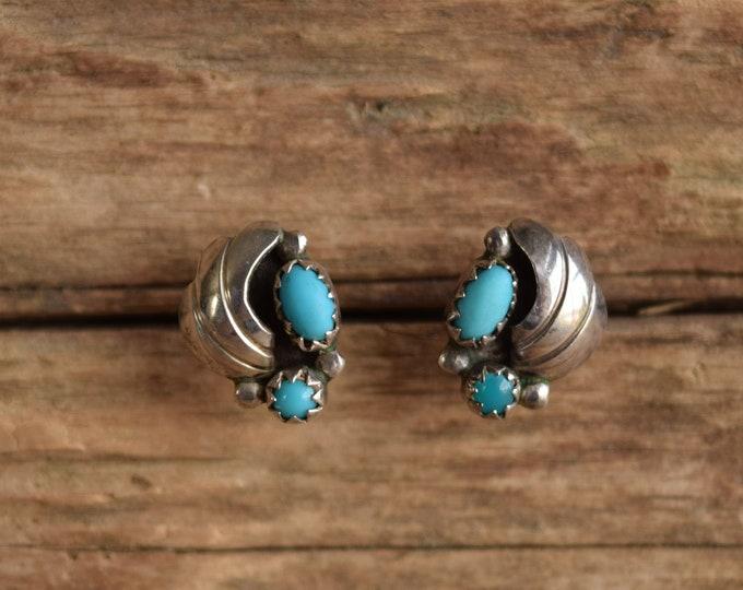Turquoise Leaf Stud Earrings