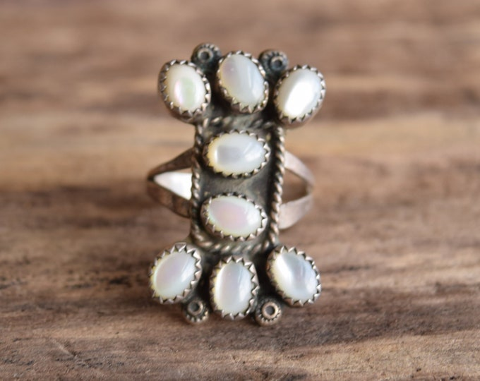 Size 8 1/4 Mother of Pearl Cluster Ring - AKA The Dog Bone Ring