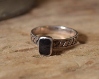 Black Square Ring Size 7 - Sterling Silver