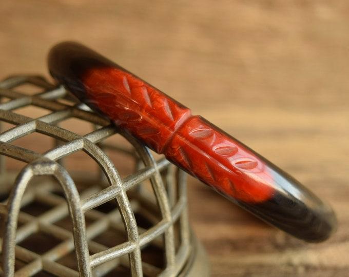 Black Overdyed Red Carved Bakelite Bangle Bracelet