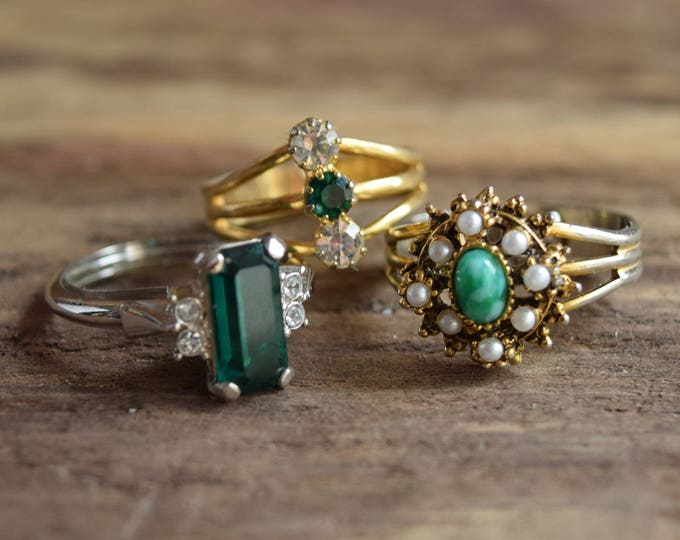 Green Cocktail Rings - Adjustable Vintage Costume Jewelry
