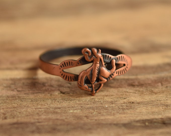 Rodeo Cowboy Ring - Size 7-11 Adjustable Copper Ring - Bucking Bronco southwestern jewelry - western cowgirl