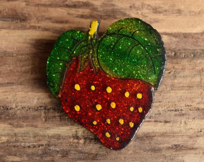 Glitter Strawberry Brooch