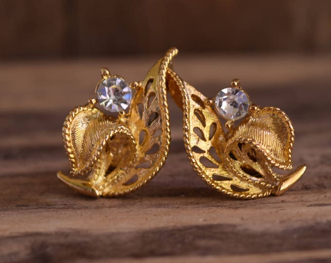 Gold toned clip-on Rhinestone earrings - Gold Flower Earrings