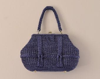 Blue Raffia Vintage Handbag by Walborg