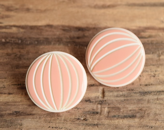 Pink and White Round Earrings